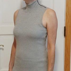 INC sleeveless gray ribbed turtle neck top - S